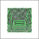 אייקון - ספסל ירוק בין שני עצים